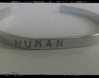 Human stamped cuff bracelet