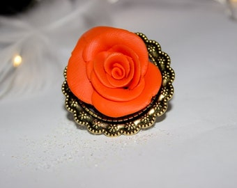 Orange rose flower ring, polymer clay jewelry