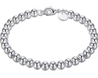 925 Sterling Silver Bead Bracelet! UK Seller, Fast Dispatch!