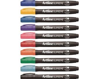 12 Artline Supreme Assorted Color Permanent Marker Pen 1.0mm EPF-700 | Art Craft Doodle Drawing Cards Stationery Pens Colour Bullet Tip
