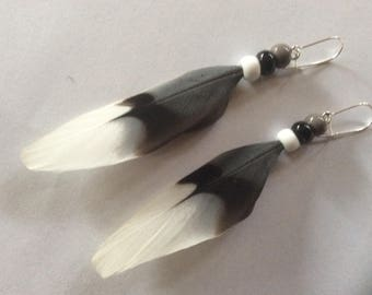 Feather Earrings, Handmade Beautiful Dove Feather Earrings, OOAK Natural Feather Earrings, Made in Canada