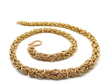 Gold Filled Byzantine Link Chainmaille Necklace