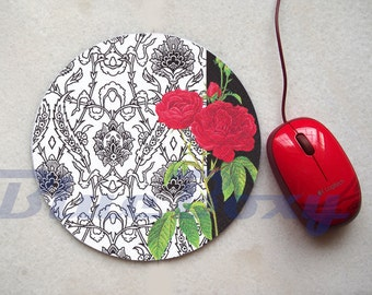 Red Rose Mouse pad, Office Mousepad, Computer Mouse Pad, Floral Mousepad