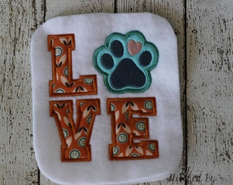 LOVE Paw Print - Applique - 2 Sizes - DIGITAL Embroidery Design