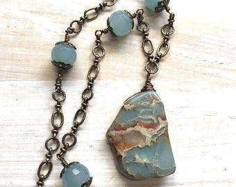 Light Blue Turquoise Pendant Necklace, Quartz Wire Wrapped Necklace