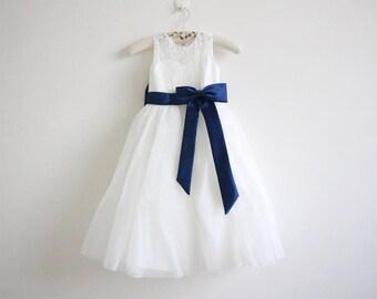 Light Ivory Lace Flower Girl Dress Light Ivory Baby Girl Dress Lace Tulle Flower Girl Dress With Navy Sash/Bows Floor-length