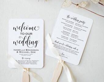 Wedding Program Fan Template, Calligraphy Script Printable Program, Instant Download, DIY Ceremony Program Fan, Kraft Paper, WPC_1169