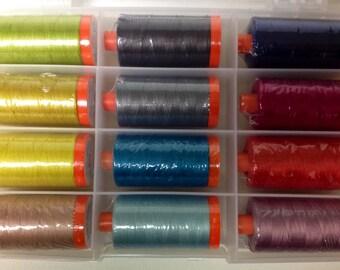 Aurifil ESSENTIALS Thread Collection by Allison Glass - 12 lg spools 50 wt 100% Mako Cotton Thread
