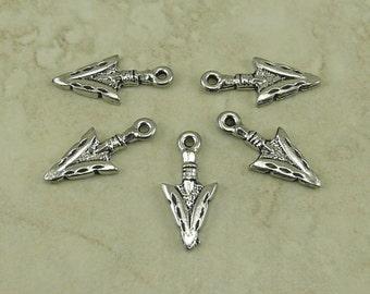 5 Native American Arrow Head Charms > Cowboy Indian Western Hunt - Gray Silver Raw American Made Lead Free Pewter - I ship internationally