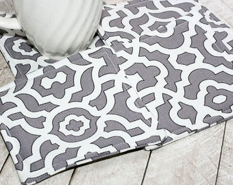 Gray & White Lattice Coasters, Set of 4