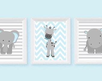 Nursery Art, Elephant Nursery Art, Baby Blue and Grey, Baby Nursery Decor, Baby Room Decor, Nursery Decor, Nursery Canvas, Jungle Nursery