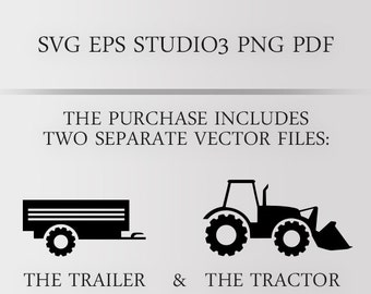 Tractor with trailer SVG, Farm Tractor Vector, Tractor Clipart digital file for cricut, silhouette and other cutters. Country barn theme