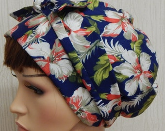 Blue Floral Head Scarf , Cotton Head Wrap, Jewish Tichel, Surgical Scrub Cap, Cotton Sleeping Bonnet, Hair Loss Hair Scarves