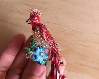 1930s Large Celluloid Nightengale Brooch - Red Rhinestone Bird