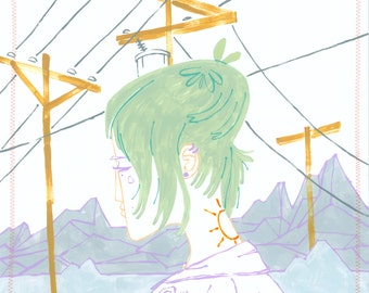 Des lignes | impression d'art 12 x 12 po | illustration de hipster rue urbain grunge pastel goth
