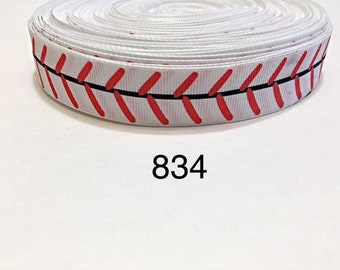 "3 or 5 yard - 1"" Sport Baseball on White Grosgrain Ribbon Hair bow"