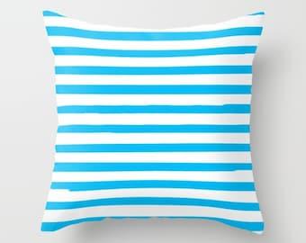 Boys Room Decor, Blue Striped Pillow, Blue Cushion Cover, Kids Decorative Pillows, 18x18 Pillow Cover, 22x22 Cushion, Preppy, Teen Decor