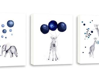 Boys Wall Art, Navy Blue Boys Art, Kids Animal Art, Boys Nursery, Zebra, Elephant, Giraffe, Set Of Three Gallery Wrapped Canvases - SO74WC