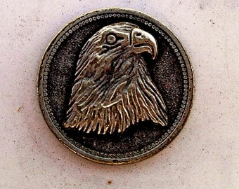 Sterling Silver Eagle Engraved Coin Button RF137
