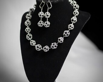 Black Tie Dodecahedra Necklace & Earrings Set [Made-to-Order]