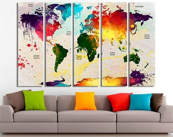 World map art World map decor World map wall art World map canvas World map print World map poster World map photo Colorful world map