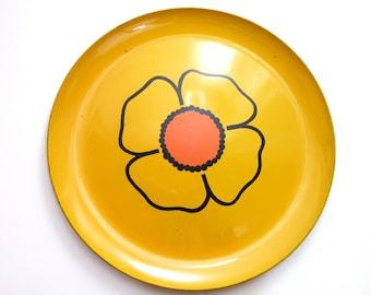 "Vintage Mod Flower Serving Tray Round 13"""
