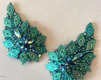 Paisley shaped, green, blue zircon pasties