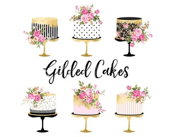 Cake Clipart, Gold Foil Cake Clipart, Shabby Chic Clipart wedding clipart, birthday cake clipart, gold foil, baby shower, wedding invitation