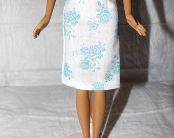 Fashion Doll Coordinates - White & blue floral skirt - es428