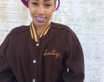 """SALE Vintage 1970s Brown & Yellow """"Smiley"""" Varsity Jacket"""