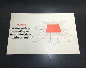 "1960s geometry Math Sign!  ""Plane"" Physics dimension vintage teaching aid. Teachers Math Classroom."