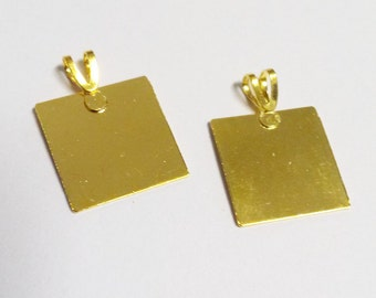 Metal Stamping Blanks Gold Blank Charms Blank Pendants Metal Square Tag Blanks Gold Charms 20mm 10 pieces CLEARANCE was 5.72