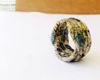 First anniversary ring for eco wife – upcycled newspaper jewelry. Slow fashion for a sustainable jewelry lover.