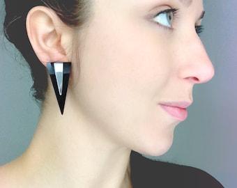 Geometric Triangle Earrings, Black Acrylic Stud Earrings, Black & Mirror by ENNA