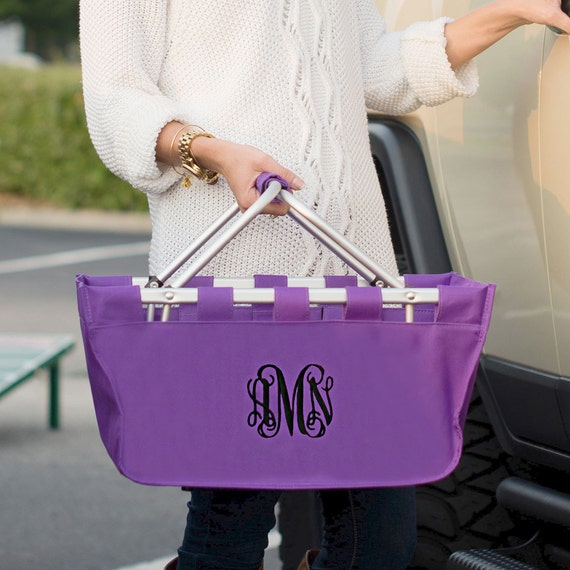 Purple  Market tote picnic basket tote monogram basket tote personalized tote bag tailgate tote gameday bag college dorm shower caddy basket