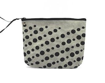 vegan paper leather pouch - medium size - dots/grey