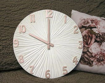 White Clock LARGE  WALL CLOCK white and rose gold  Wedding Gift White Wall clock with numbers Modern Wall Clock  Unique Wall Clock