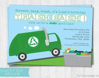 Garbage Truck Birthday Invitation - Printable