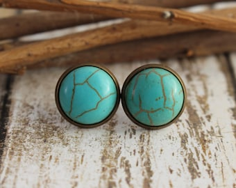 Turquoise Studs - Blue Studs - Bronze Stud Earrings - Faux Gemstone - 12mm Studs - Gift for Her - Dome Studs - Bridesmaid Gift - Turquoise