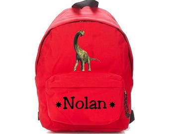 Red dinosaur backpack personalized with name
