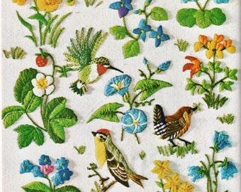 PDF Vintage Crewel Embroidery Patterns Spring Birds Berries Flower Blossoms Needlepoint Stitchery Motifs Instant Digital Download