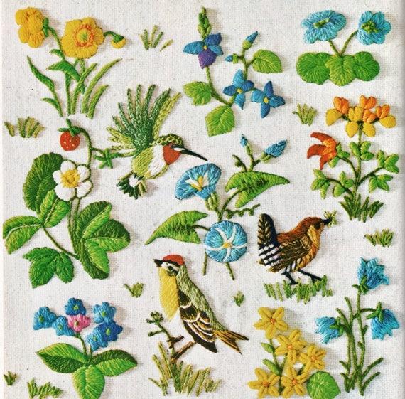 Pdf Vintage Crewel Embroidery Patterns Spring Birds Berries