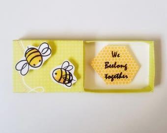 We Beelong Together Miniature Matchbox Card Message/ Valentine card/ Anniversary/Birthday/Love/ Wedding