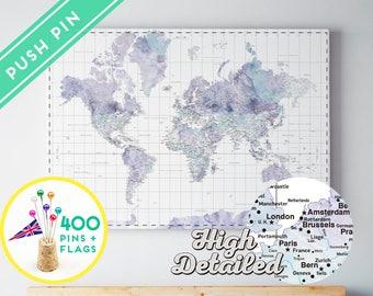 Etsy el lugar para comprar y vender todo lo que est hecho a mano canvas world map push pin watercolor marble ready to hang high detailed 240 gumiabroncs Image collections