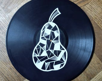 Art on vinyl - Abstract line drawing of a pear on vinyl record