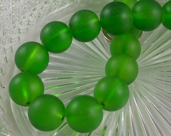 12mm Large Sea Glass Beads Smooth Round Frosted Matte Green (Qty 6) PH-SG12-GRN
