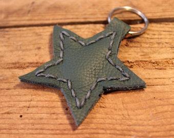 Dark Green Leather Star Keyring/Keychain