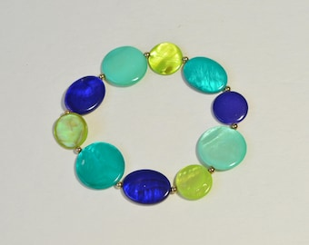 Blue Green Shell Mother-of-Pearl Gold Tone Bead Bracelet