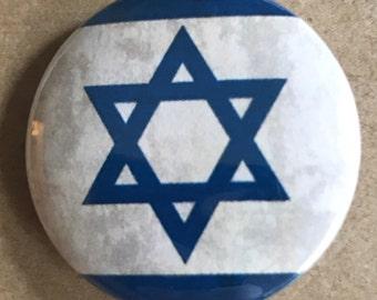 Israel Flag Pinback Button, Star of David, Jewish Flag, Shabbat Magnet, Backpack Pin, Israel Keychain, Vintage Flag Button, Travel Pins