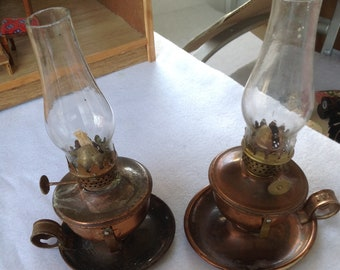 Pair Of Vintage 1940u0027s Copper Mini Hurricane Oil Lamps